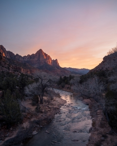 Beautiful sunset at Zion National Park