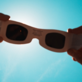 Solar eclipse through sunglasses in Kentucky, August 2017