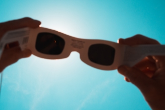 Solar eclipse through sunglasses in Kentucky, August 2017